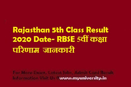 Rajasthan 5th Class Result 2020
