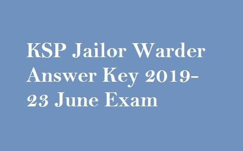 KSP Warder Answer Key 2019