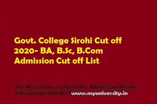 Govt. College Sirohi Cut off 2020