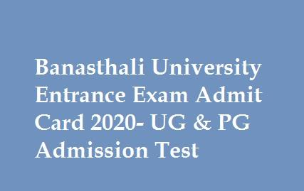 Banasthali University Entrance Exam Admit Card 2020