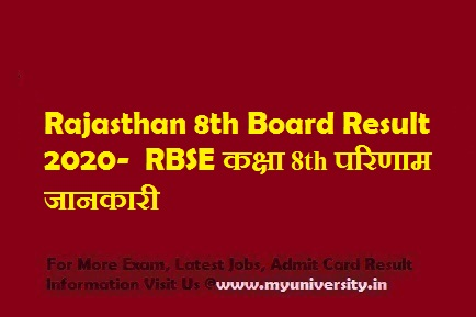 Rajasthan 8th Board Result 2020