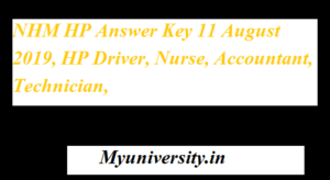 NHM HP Answer Key 11 August 2019