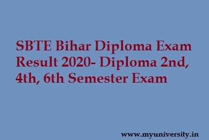 SBTE Bihar Diploma Result 2020