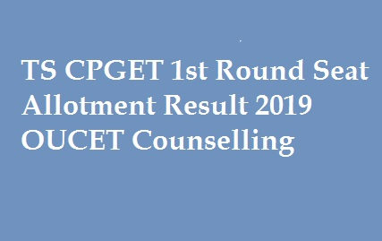 TS CPGET 1st Round Seat Allotment Result 2019