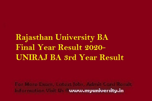 Rajasthan University BA 3rd Year Result 2020