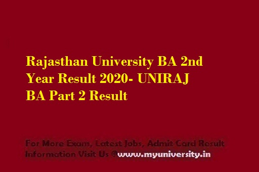 Rajasthan University BA 2nd Year Result 2020