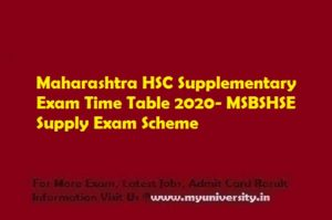 Maharashtra HSC Supplementary Exam Time Table 2020