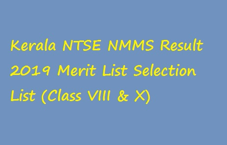 Kerala NTSE NMMS Result 2019