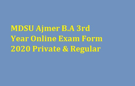 MDSU BA 3rd Year Online Exam Form 2020