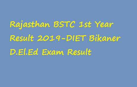 Rajasthan BSTC 1st Year Result 2019