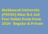 Shekhawati University BA 2nd Year Online Exam Form 2020