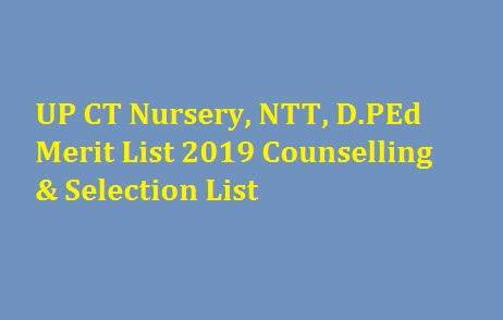 UP CT Nursery NTT Merit List 2019