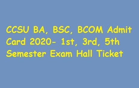 CCSU BA, BSC, BCOM Admit Card 2020