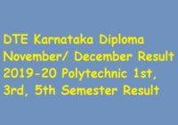 DTE Karnataka Diploma November/ December Result 2019-20
