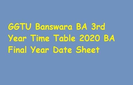 GGTU Banswara BA 3rd Year Time Table 2020