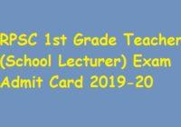 RPSC 1st Grade Teacher Admit Card 2019-20