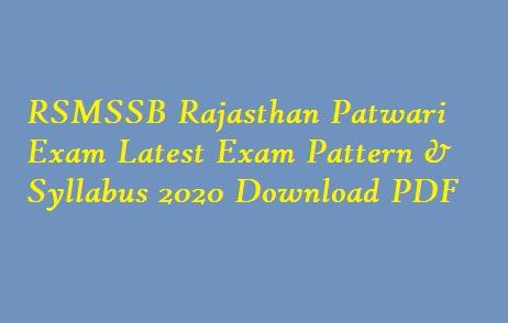 RSMSSB Patwari Latest Syllabus 2020