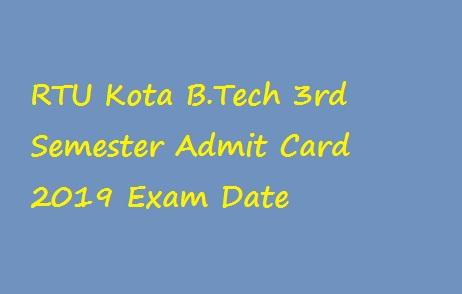 RTU Kota BTech 3rd Sem Admit Card 2019