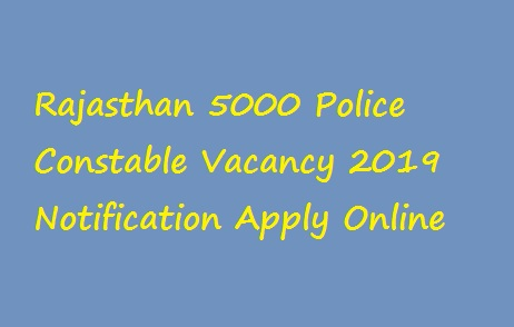 Rajasthan Police Constable Online Application Form 2019