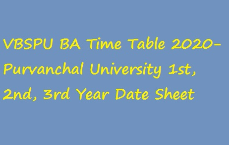 VBSPU BA Time Table 2020