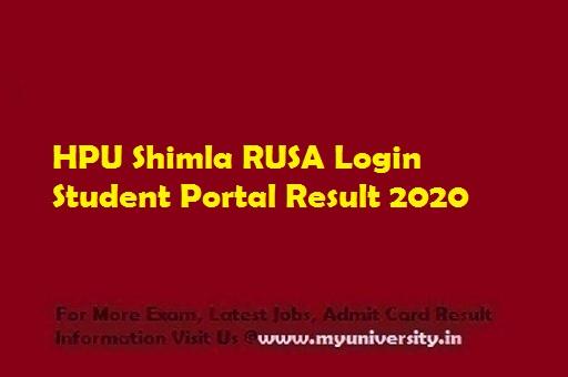 HPU Shimla RUSA Login Student Portal Result 2020
