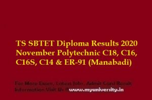 TS SBTET DiplomaC16, C16S, C14 and C09 Results 2020
