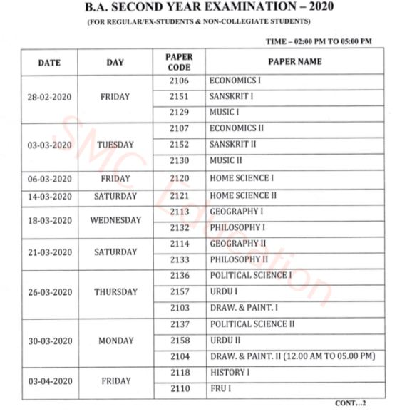 GGTU BA 2nd Year Time Table 2020
