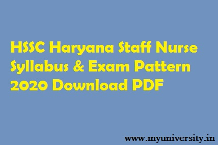 HSSC Staff Nurse Syllabus 2020 PDF