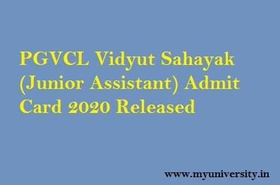 PGVCL Vidyut Sahayak Admit Card 2020
