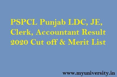 PSPCL LDC JE Result 2020