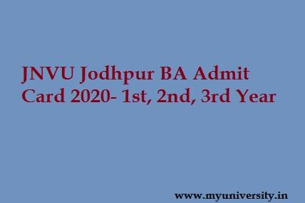 JNVU Jodhpur BA Admit Card 2020