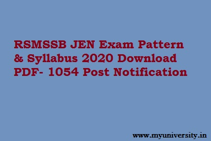 RSMSSB JEN Syllabus 2020 Exam Pattern