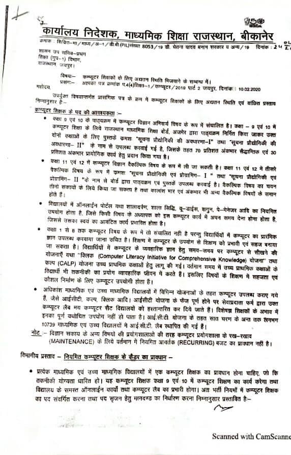 Rajasthan Computer Teacher Recruitment 2020