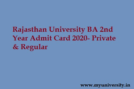 Rajasthan University BA 2nd Year Admit Card 2020