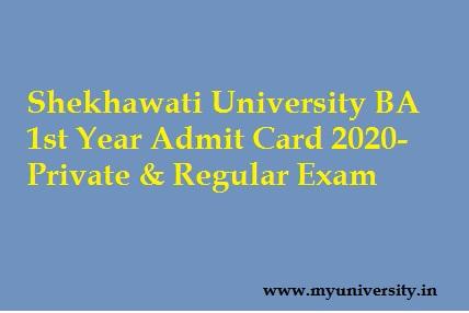 Shekhawati University BA 1st Year Admit Card 2020