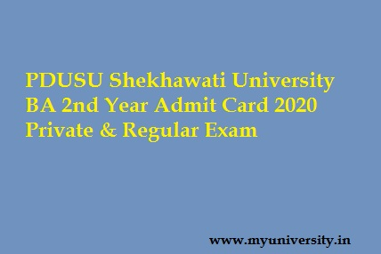 Shekhawati University BA 2nd Year Admit Card 2020 Private & Regular