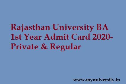 UNIRAJ BA 1st Year Admit Card 2020