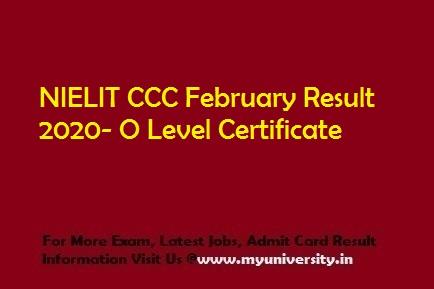 NIELIT CCC February Result 2020