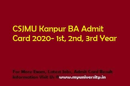 CSJMU BA Admit Card 2020