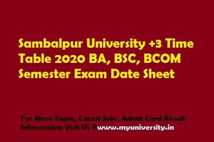 Sambalpur University +3 Time Table 2020 BA, BSC, BCOM Exam