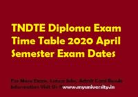 TNDTE Diploma Exam Time Table April 2020