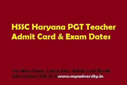 HSSC PGT Admit Card 2020