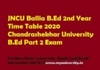 JNCU BEd 2nd Year Time Table 2020