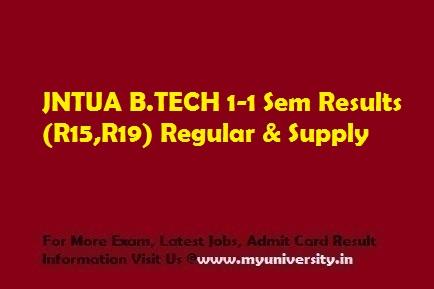 JNTUA BTECH 1-1 Sem Results (R15,R19) January 2020