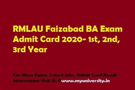 RMLAU BA Admit Card 2020