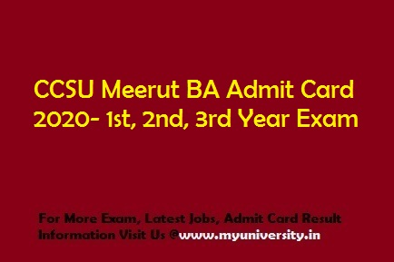 CCSU BA Admit Card 2020