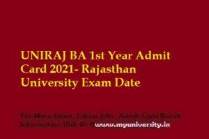 UNIRAJ BA 1st Year Admit Card 2021