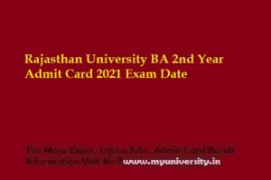 Rajasthan University BA 2nd Year Admit Card 2021