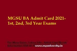 MGSU BA Admit Card 2021