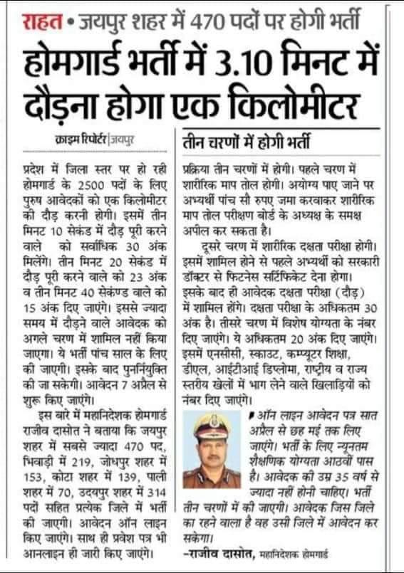 Rajasthan home guard Bharti physical 2020